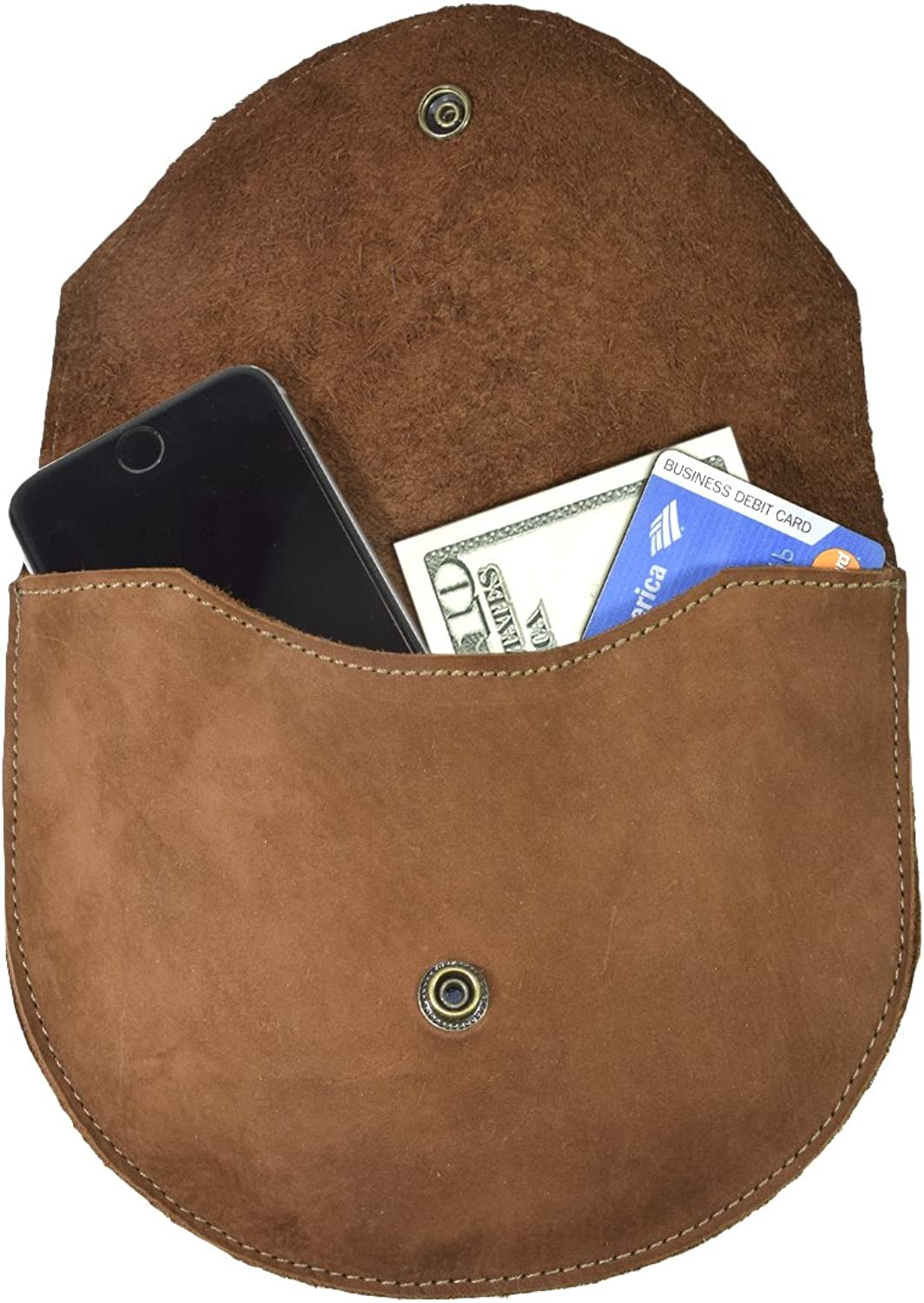Hide & Drink Durable Leather Two in One Hip and Shoulder Bag Handmade Swayze Suede Brown