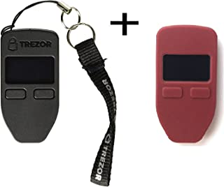 Trezorハードウェア財布(ブラック) +ボーナスprotectingcoinケース/スキンレッド