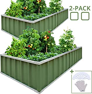 KING BIRD Extra-Thick 2-Ply Reinforced Card Frame Raised Garden Bed 68''x36''x12'' x2 Pack Galvanized Steel Metal Planter Kit Box with 16pcs T-Types Tags & 2 Pair of Gloves Green