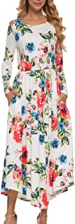 LAINAB Women's Casual Floral Long Sleeve Long Maxi Dress with Pockets