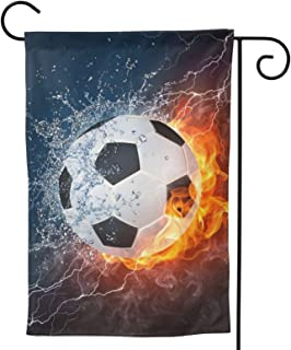 Soccer Ball Garden Flag Fire Water House Flag Vertical Double Sided Yard Outdoor Decor Party 12.5 X 18 Inch