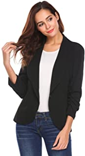 Nightycatty Womens Fitted Open Front Blazer, Draped Lapel Jacket with 3/4 Ruched Sleeves