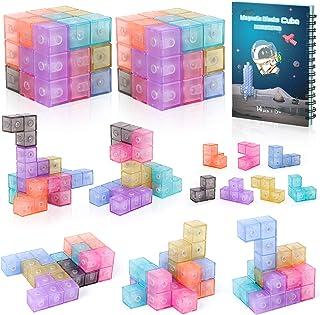 burgkidz Magnetic Building Blocks Magnetic 3D Puzzle Cubes, 2 Packs of 7 Multi Shapes Magnetic Blocks, Intelligence Develo...