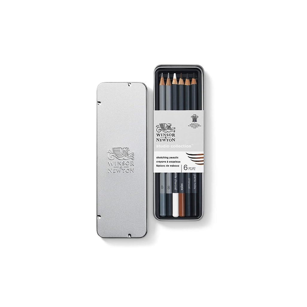 Winsor & Newton 884955064887 490011 Drawing Pencils Set of 6-2 Pencils 4B, 8B, 4 Charcoal, Pierre Noire, Sepia Metal Case