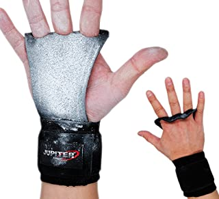 Leather Hand Grips with Wide Wrist Wraps-Perfect for Pull-up Training, Kettlebells and Barbell Training, Weightlifting