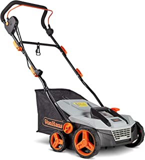 """VonHaus 12.5 Amp Corded 15"""" Electric 2 in 1 Lawn Dethatcher Scarifier and Aerator with 5 Working Depths and 45L Collection..."""