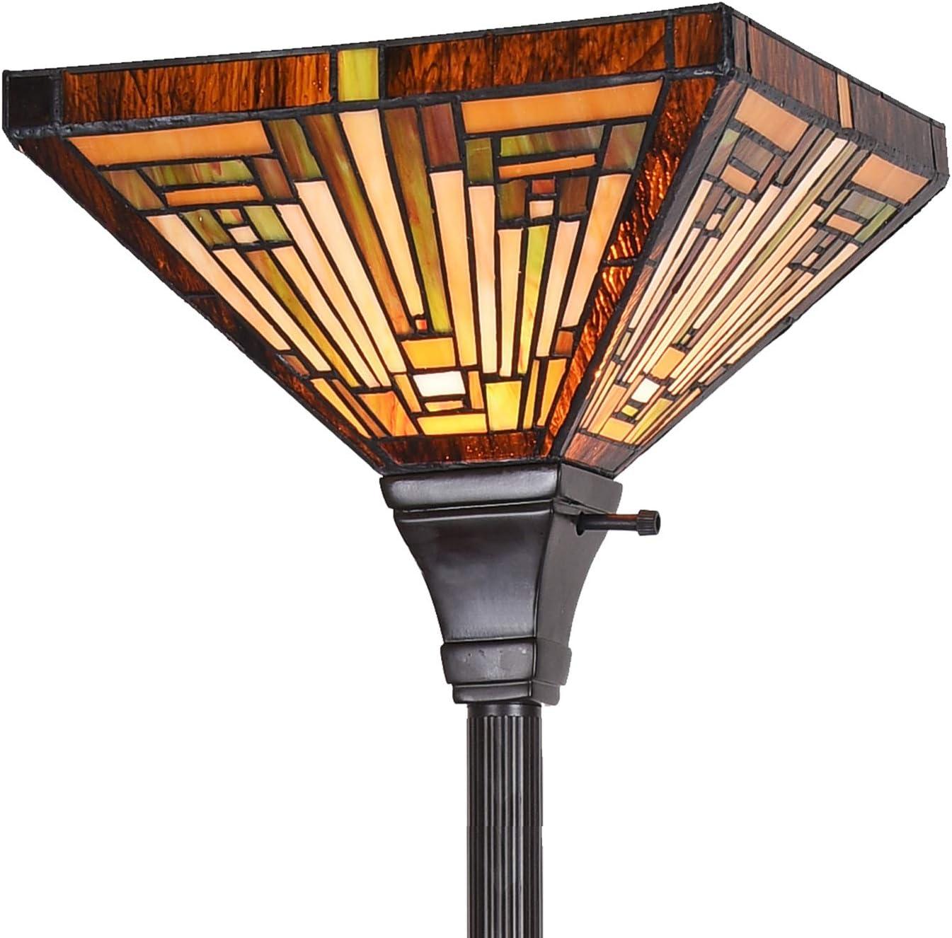 Artzone Mail order cheap Tiffany Torchiere Floor Lamp Arlington Mall W12 H70 Inch Missio Antique