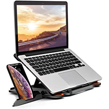 "MeFee Laptop Stand Adjustable Laptop Computer Stand Multi-Angle Stand Phone Stand Portable Foldable Laptop Riser Notebook Holder Stand Compatible for 9 to 15.6"" Laptops Black"