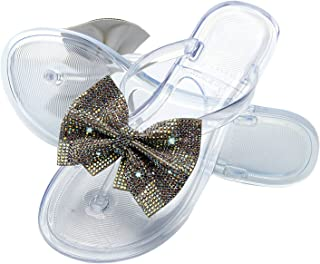 Women Low Heel Flats Bowknot Flash Diamond Slippers, Summer Open Toe Roman Flat-Bottomed Herringbone Sandals, Female Slope...