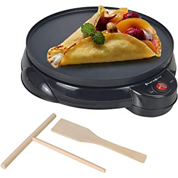"""Health and Home Electric Crepe Maker - 10""""Crepe Pan,Crepe Griddle, Non-stick Pancake Maker - Easy Clean & Includes Wooden Spatula, Batter Spreader"""