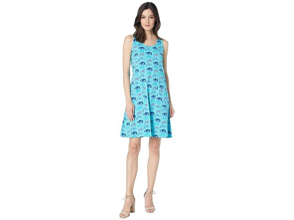 Fresh Produce Fish School Drape Dress (Luna Turquoise) Women