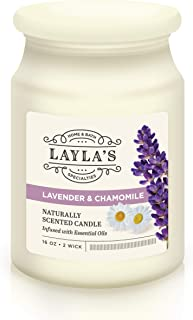 Laylas 2-Wick Scented Candle for Stress Relief, Aromatherapy & Relaxation – Naturally Scented and Infused with Essential Oils -16oz (Lavender & Chamomile)