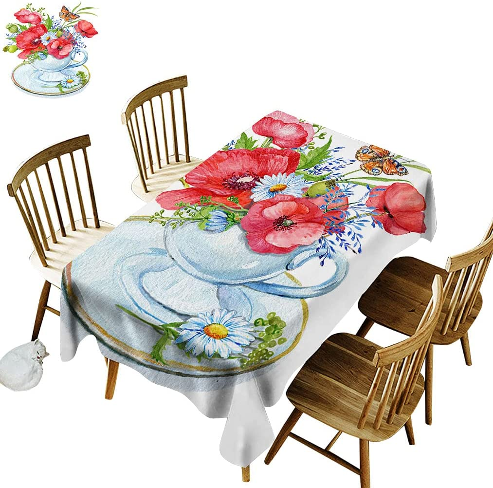 Floral New York Mall Rectangle Tablecloth Cup with a of Bouquet Popular product D Red Poppies
