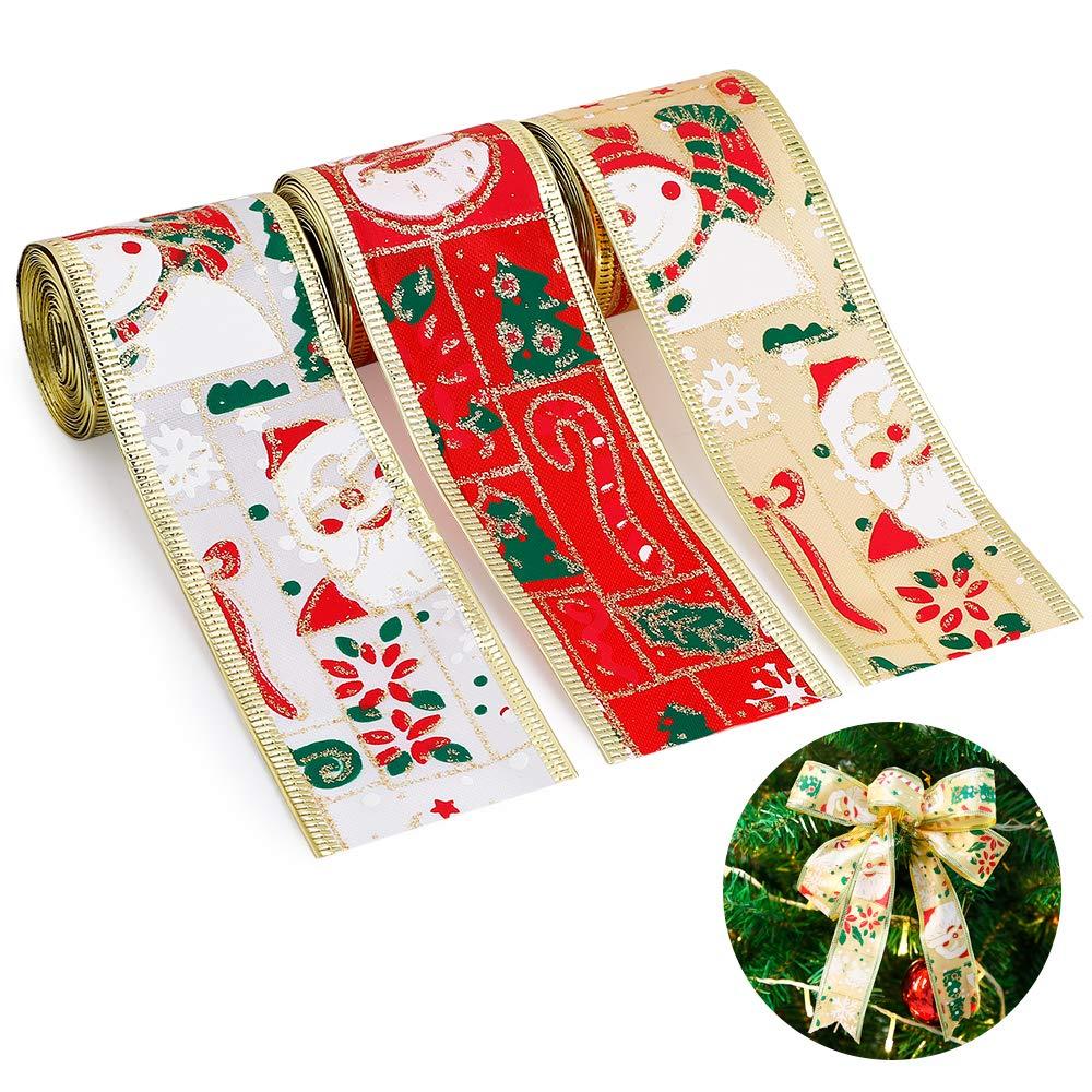 Cintas de Navidad, 3 Pack Grosgrain Cinta de Tela de Satén para Decoraciones de Navidad, Envoltura de Regalos, Fabricación de los Arcos del Pelo, Costura Artesanal o Decoraciones de la Boda(3M*5CM): Amazon.es: