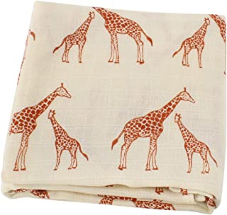 LifeTree Muslin Swaddle Blankets - Giraffe Print Muslin Blankets Baby Shower Gifts, 70% Bamboo 30% Cotton, 47 x 47 inches Breathable, Soft Nursing Cover, Wrap, Burp Cloth
