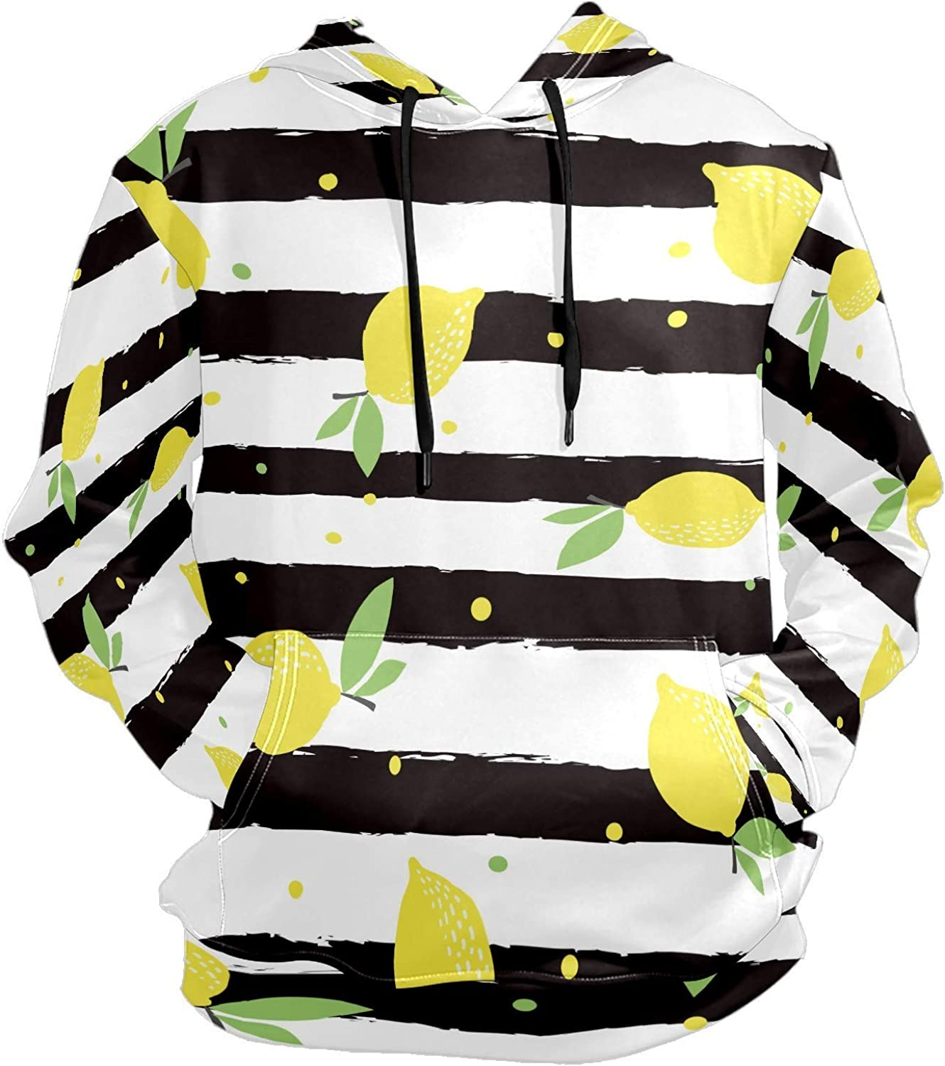 Men's Sport Hoodie Lemon Black And White Striped Big and Tall Hoodies for Men Women Oversized Hooded Sweatshirt Hip Hop Pullover Hoodie Midweight Hood for Boys Girls