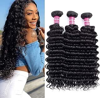 Brazilian Human Hair Deep Wave 3 Bundles 10 10 10inch Unprocessed Virgin Brazilian Deep Curly Hair Weave Human Hair Bundles Brazilian Deep Wave Bundles Natural Black