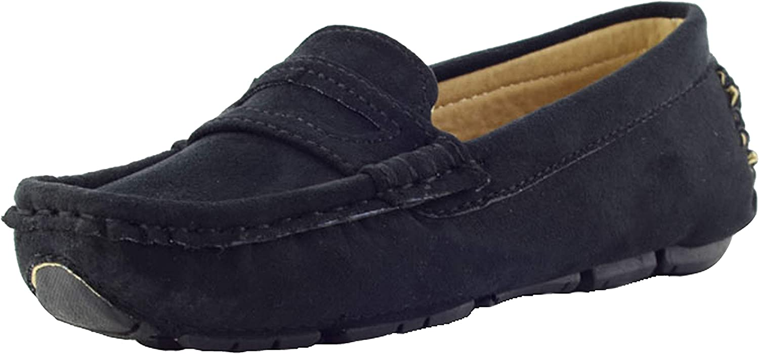 WUIWUIYU Boys Girls Casual Slip-ons Suede Penny Loafers Moccasins Shoes