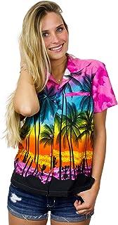 King Kameha Hawaiian Blouse Shirt for Women Funky Casual Button Down Very Loud Shortsleeve Unisex Beach