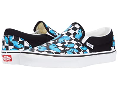 Vans Classic Slip-Ontm ((Butterfly Checkerboard) True White) Skate Shoes