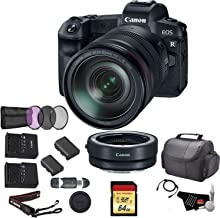 Canon EOS R Mirrorless Digital Camera with 24-105mm Lens Bundle with Canon Mount Adapter + 64GB Memory Card + Replacement Battery + UV Filter Kit and More