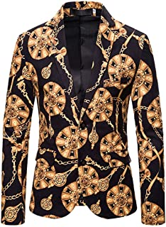 Stoota Mens Luxury Cotton Floral Blazer Jacket, Long Sleeve Stylish Print Slim Fit Dinner Tuxedo Prom Wedding Party