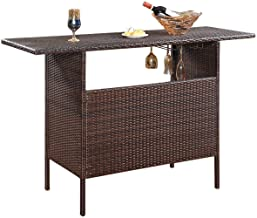 Giantex Outdoor Patio Rattan Wicker Bar Counter Table with 2 Steel Shelves, 2 Sets of Rails Garden Patio Furniture, 55.1