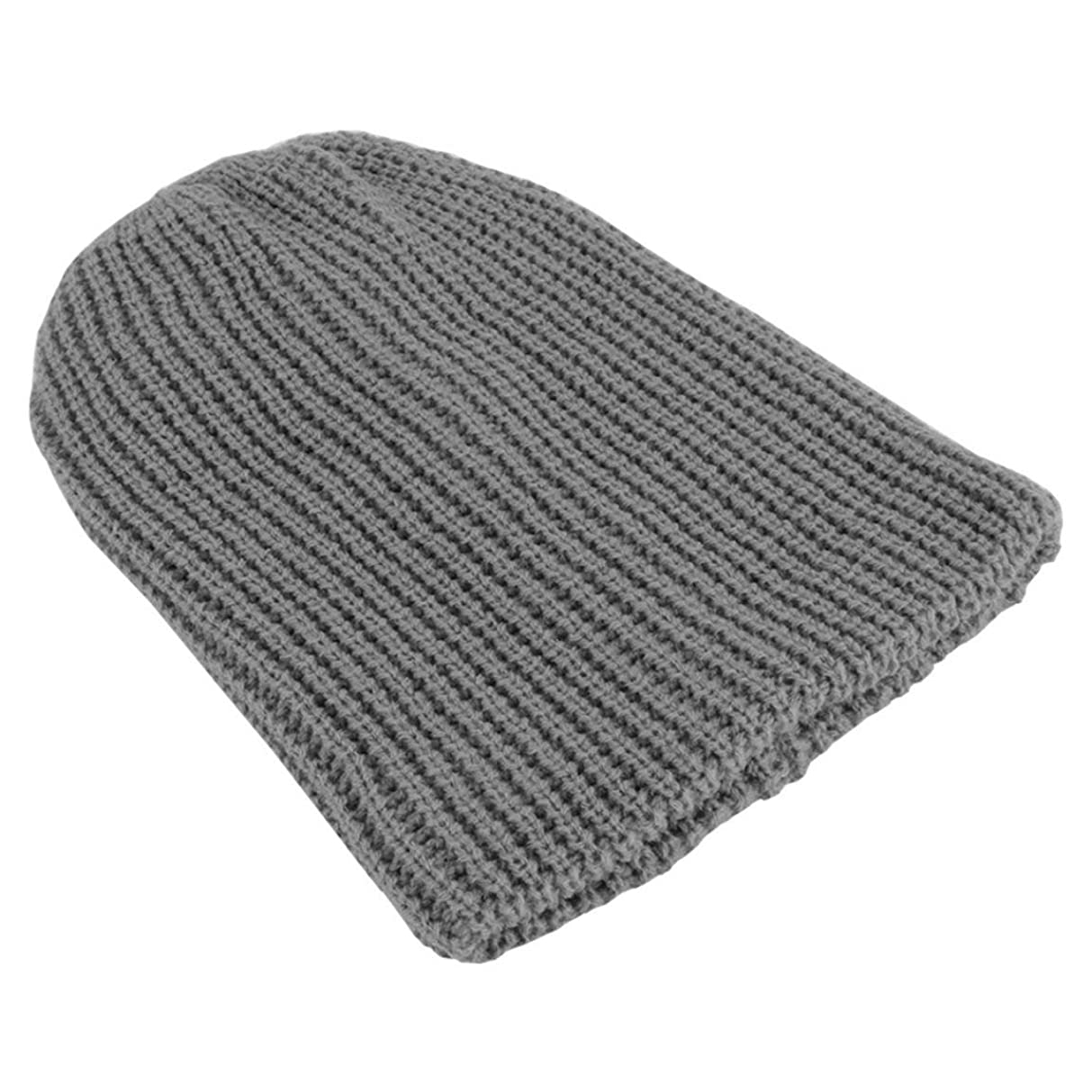 利益奨学金悲観主義者ファッションメンズスラウチオーバーサイズキャップウィンターニットスキーコンフォートデイリービーニースカルウォーム伸縮性帽子ウィンターハットLZ003-グレー