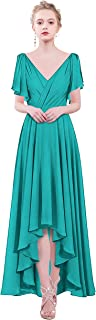TalinaDress Womens Long Chiffon V Neck Hi-Lo Bridesmaid Dress Formal Gown E088LF