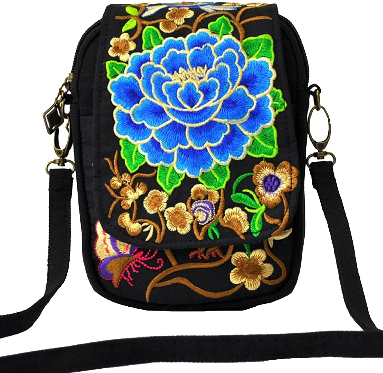 LeaLac Women Ethnic Embroidered Shoulder Messenger Bag Handmade Crossbody Bag Boho Bags Canvas Handbag Phone Coin Purse