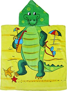 Print Yoga Mat Children'S Bath Towel Cartoon Print Cloak Hooded Beach Towel Crocodile (Old Style) 60X120Cm 瑜伽垫