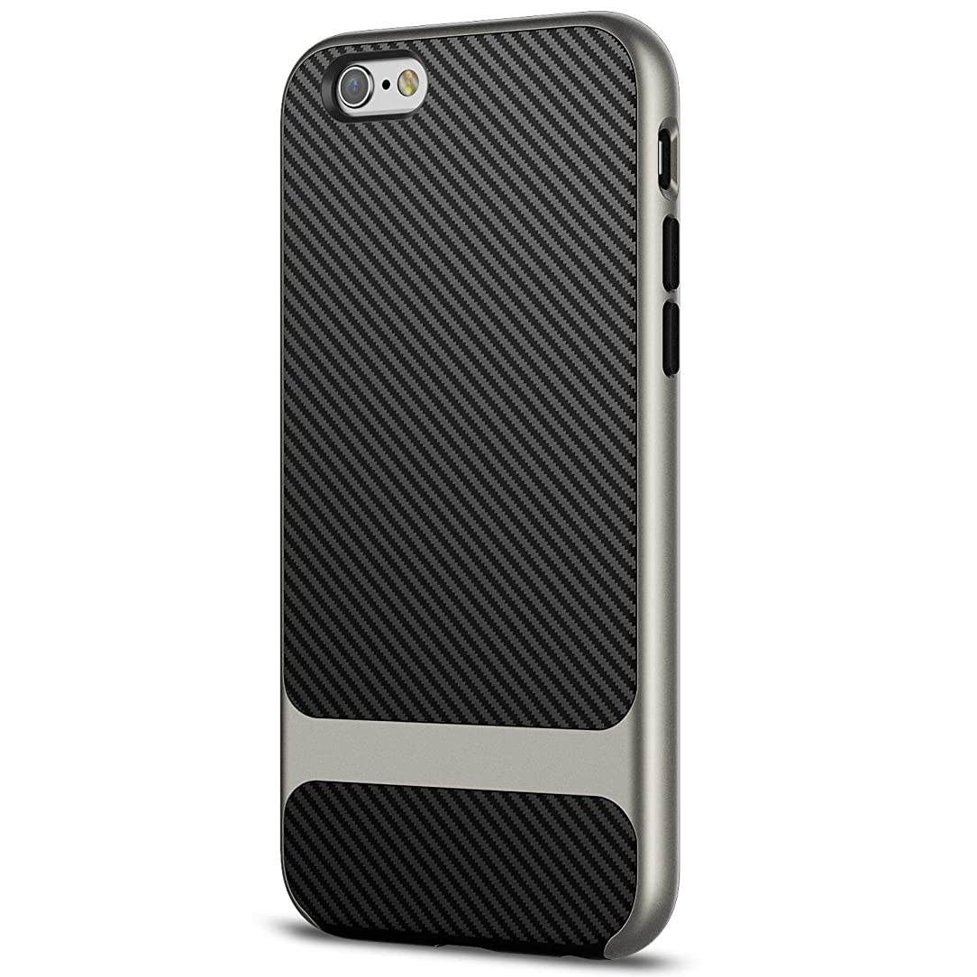 JETech Case for iPhone 6s and iPhone 6, Slim Protective Cover with Shock-Absorption, Carbon Fiber Design, Grey