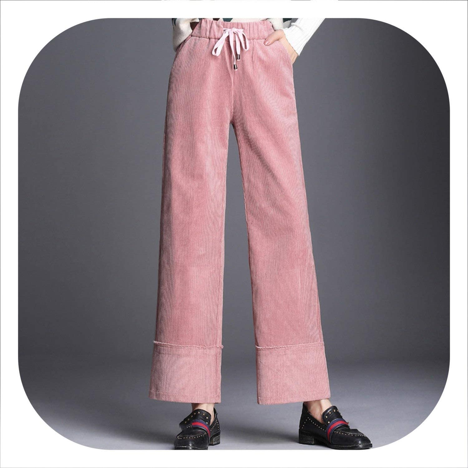 High Elastic Waist Corduroy Wide Leg Pants Nine Thick Cotton Pants Trousers