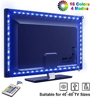Tira LED TV 2.2M OMERIL 5050 Tiras LED USB Impermeable con Control Remoto 16 RGB Colores y 4 Modos Retroiluminacion LED...