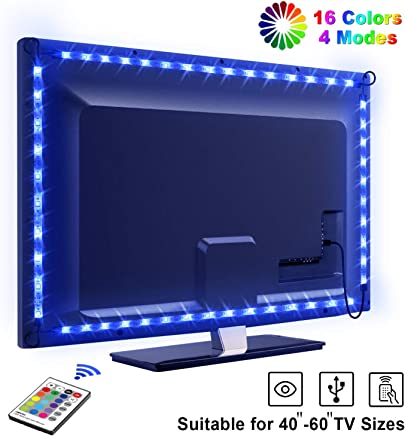 LED Strips Lights, OMERIL 2.2M/7.2ft USB TV Backlights with 16 Colors and 4 Modes for 40-60 inch HDTV/PC Monitor, IP67 Waterproof SMD 5050 Bias Lighting with 24-Key Remote Control [2x0.5m, 2x0.6m]