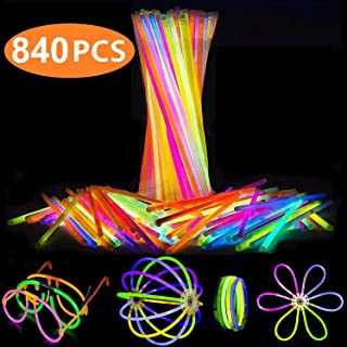 Attikee 840 PCS Glow Sticks Bulk for Glow Party Favors - (8 Inch, 7 Colors), 400 PCS Bendable Glow Sticks & 440 PCS Connectors for Eyeglasses, Balls, Flowers, Necklaces, Triple Bracelets, Glow in Dark Non-Toxic Light Sticks for Kids Adults