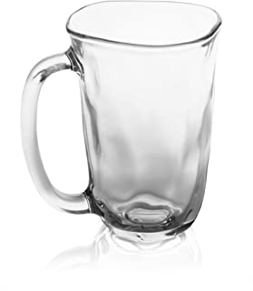 Red Co Textured Clear Glass Tea and Coffee Mugs - Set of 2, 11 Ounce