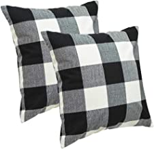 Abreeze Buffalo Checkers Plaid Cotton Linen Decorative Throw Pillow Cover Farmhouse Decor Rustic Cushion Cover Pillowcase for Sofa 18 x 18 Inch, Set of 2 (Black/White, 18×18)