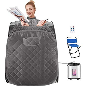 OppsDecor Portable Steam Sauna Spa, 2L Personal Therapeutic Sauna for Weight Loss Detox Relaxation at Home,One Person Sauna with Remote Control,Foldable Chair,Timer (31.5 x 31.5 x 40.6inch, Grey)