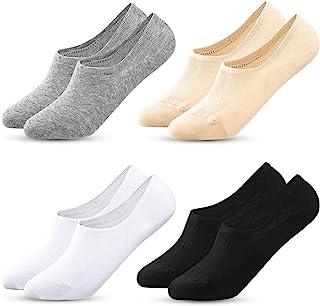 MELLIEX, 4 Pares Calcetines de Invisibles Mujer, Calcetines de Cortos Tobilleros Calcetin de Algodón con Silicona Antideslizante