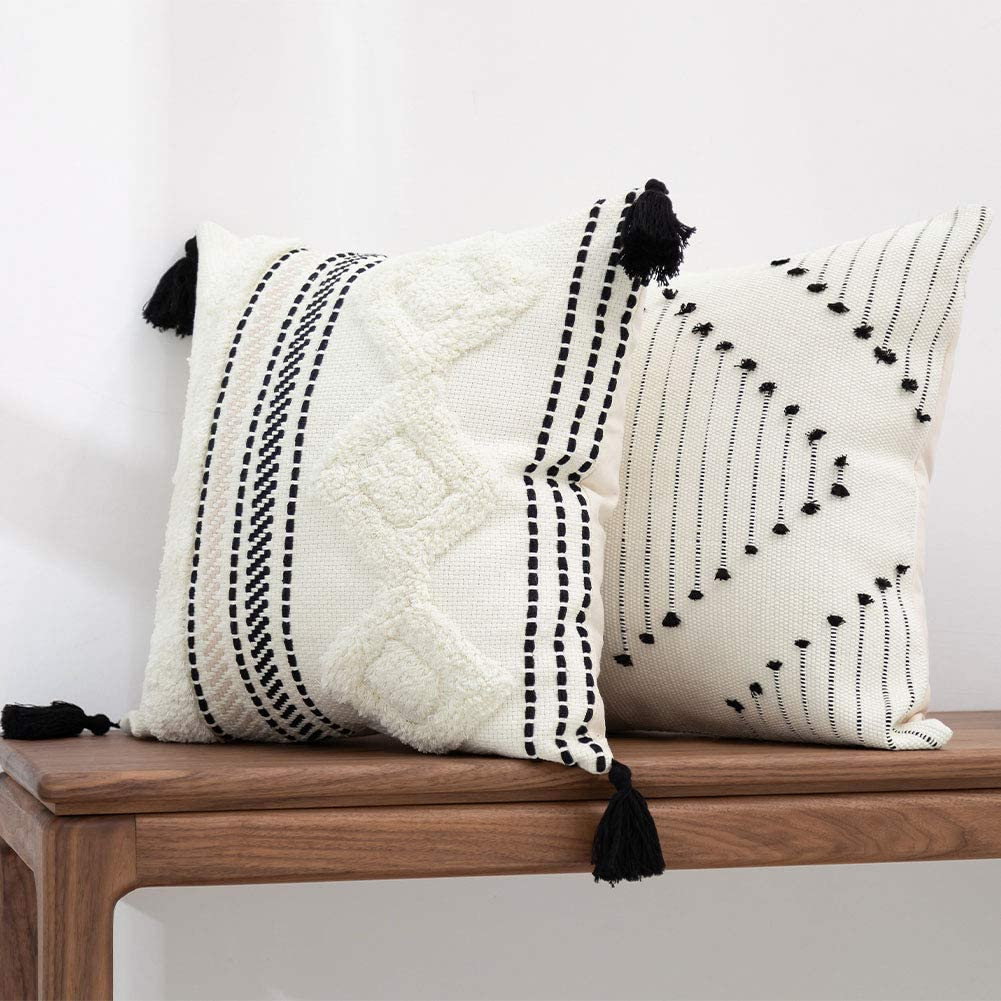 blue page Morocco Boho Decorative Diamond Pillow Covers 18X18 - Set of 2 Comfy Tufted Pillow Cases, Farmhouse Cushion Case, Soft Square Pillowcase for Couch Bedroom Office Car (Black Yellowy Cream)