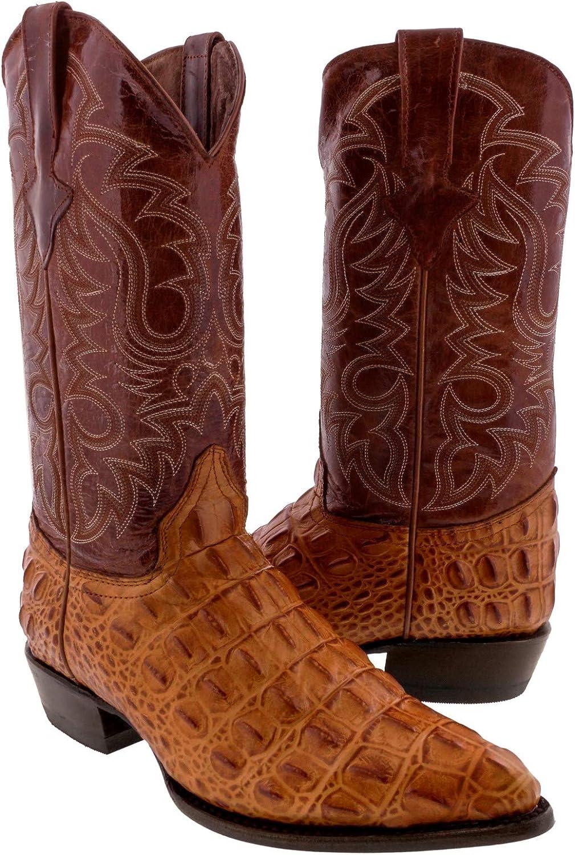 Texas Legacy Mens Cognac Crocodile Print Leather Cowboy Boots J Toe