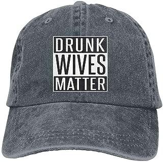 YINREN Drunk Wives Matter Novelty Unisex Washed Cap Adjustable Dad's Denim Stetson Hat Deep Heather Hat