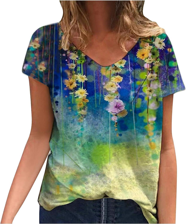 naioewe Womens Short Sleeve Tops Casual V-Neck Retro Floral Print Tshirts Loose Blouse Tops Tunics Comfy Daily Tees