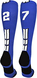 MadSportsStuff Player Id Jersey Number Socks Over The Calf Length Royal and White