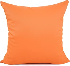 YOUR SMILE Solid Color Outdoors Waterproof Decorative Square Throw Pillow Covers Cushion Cases Pillowcases for Chair Sofa Garden,18 x 18 inch,Orange