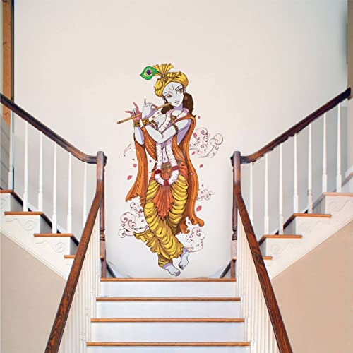 Rawpockets Decals 'Lord Krishna with Flute' Wall Sticker - (PVC Vinyl, 90 cm x 60 cm, Multicolour)