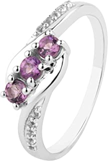 ShahGems 0.5cttw Amethyst 925 Sterling Silver Rings for Women Natural Birthstone Gemstone Jewelry Gift