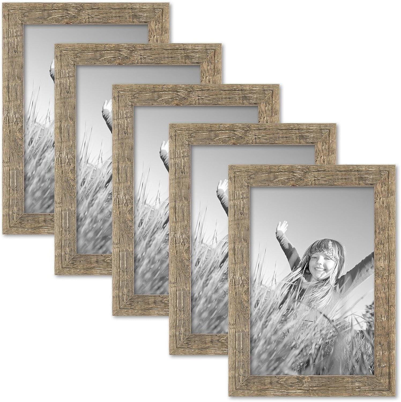 PHOTOLINI 5er Bilderrahmen-Set 20x30 cm Strandhaus Rustikal Eiche-Optik Natur Massivholz mit Glasscheibe inkl. Zubehr Fotorahmen