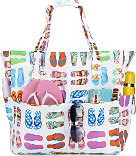 Waterproof Beach Tote Pool Bags for Women Ladies Extra Large Gym Tote Carry On Bag With Wet Compartment for Weekender Trav...